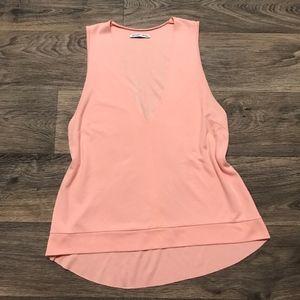 Zara M Shirt Pink Sleeveless Hi Lo Tank Viscose